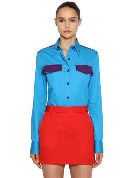 CALVIN KLEIN 205W39NYC Cotton Gabardine Shirt in blue