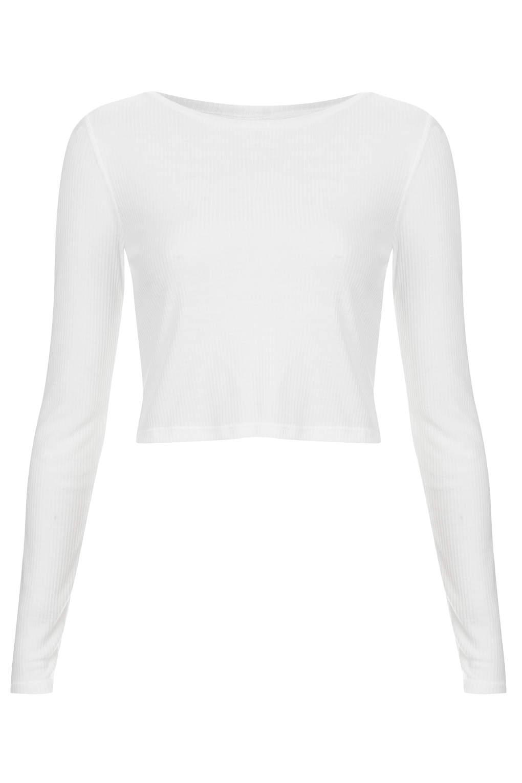 54894d4e839560 Long Sleeve Skinny Rib Crop Top - Topshop