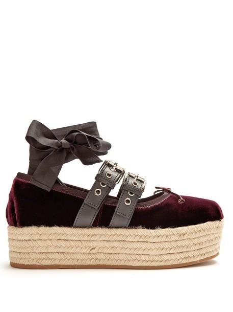 Miu Miu ballet pumps velvet burgundy shoes