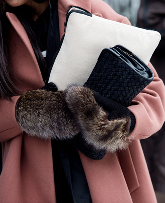 gloves tumblr nyfw 2017 fashion week 2017 fashion week streetstyle fur bag black bag clutch coat pink coat