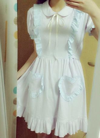 dress collared dress blue kawaii kawaii dress cute dress ribbon