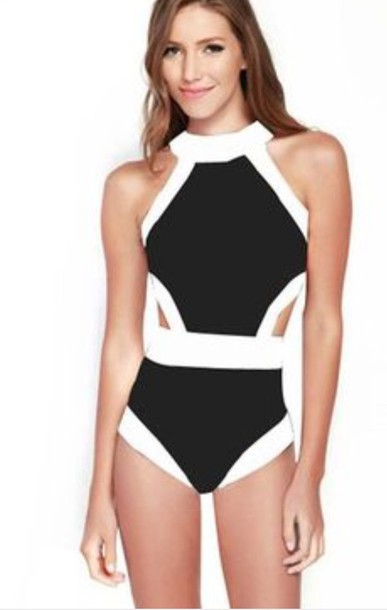 Swimwear: summer, one piece swimsuit, black, black and ...