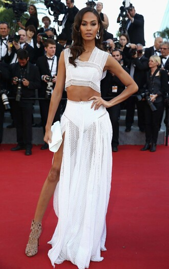 skirt top maxi skirt joan smalls red carpet cannes crop tops celebrities in white dress two piece dress set white prom dress homecoming dress