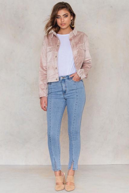 Highwaist Skinny Front Slit Jeans