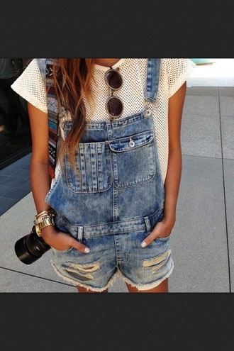 jeans dungarees dungarees denim romper denim cute pockets t-shirt jumpsuit dungaree thecarriediaries carrie summer glasses summer glasses see through top holes tan tank top white crop tops white tumblr fit