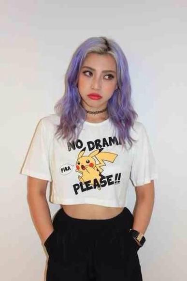 pokemon t-shirt anime kawaii shirt crop tops pastel kawaii grunge white black pastel grunge soft grunge