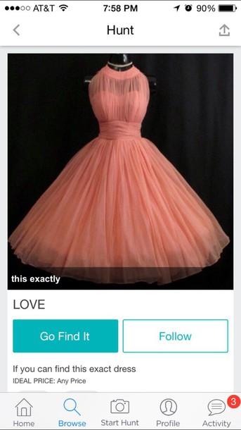 dress coral dress tulle dress