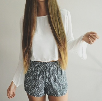 shorts top blouse white blouse white top bandana print bandana pants brandy melville girly style high waisted shorts outfit