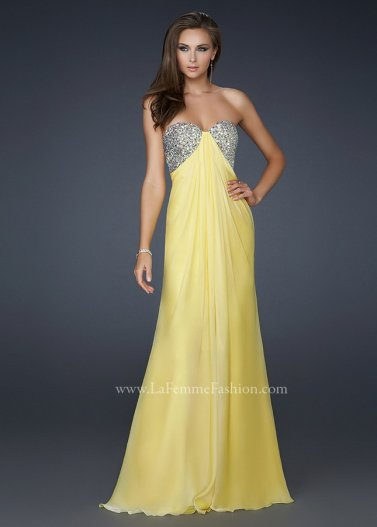 Yellow Long Encrusted Sequined Top Strapless Chiffon Prom Dress Sale [La Femme 17118 Yellow] - $172.00 : Prom Dresses 2014 Sale, 70% off Dresses for Prom