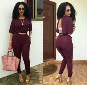jumpsuit,jumper,back out,open back,romper,burgundy,purple,belt,suede,backless,fashion