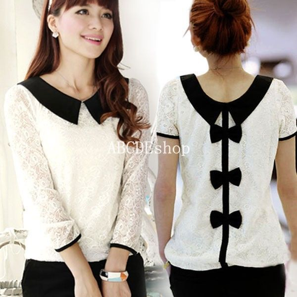 Vintage Women Ladies Peter Pan Collar Bow Back Top Blouse  : y2g7bq i from wheretoget.it size 600 x 600 jpeg 53kB