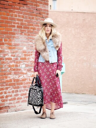 blogger bag b. jones style folk denim jacket maxi dress