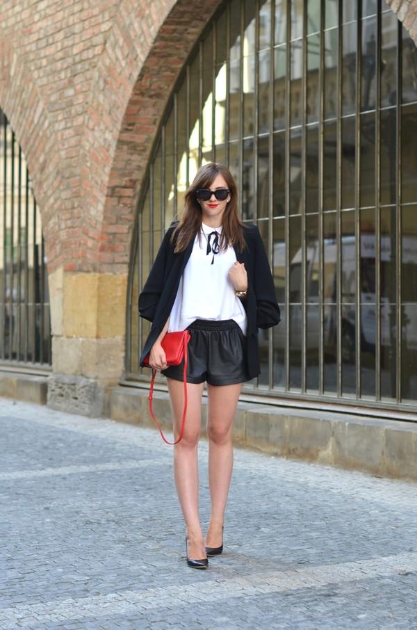 vogue haus blogger shirt shorts jacket shoes bag sunglasses jewels leather shorts