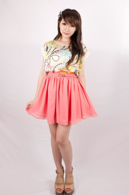 Chiffon Double Layered Skater Skirt (Peach) | THIS SEASON