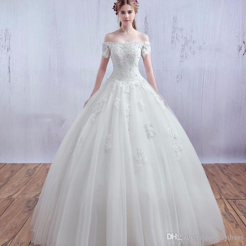 Wedding Dresses Ball Gown Off Shoulder Neck Cheap Price Lace Up Back ...