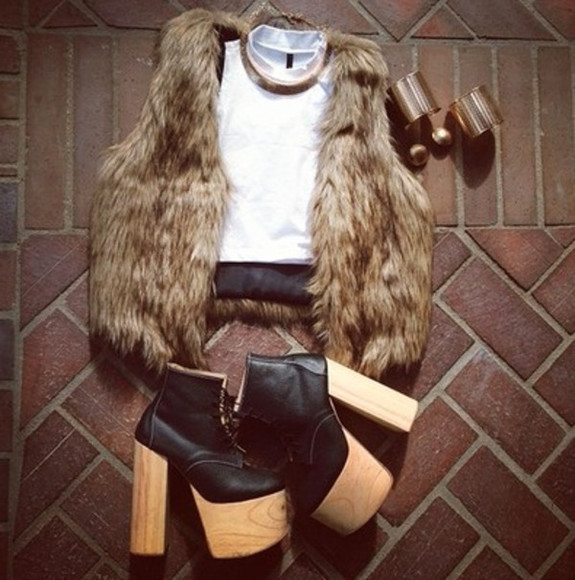 tank top crop tops white crop top faux fur fur vest faux fur vest
