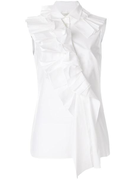 Monse shirt ruffle shirt sleeveless ruffle women white cotton top