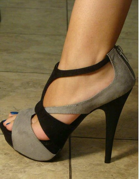 Shoes: black, tan, heels, grey, strappy - Wheretoget