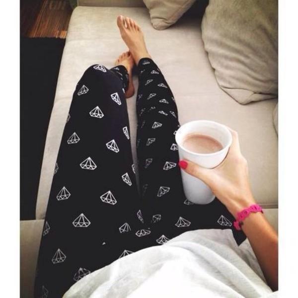 schwarze leggings mit diamanten muster official tallyweijl store. Black Bedroom Furniture Sets. Home Design Ideas