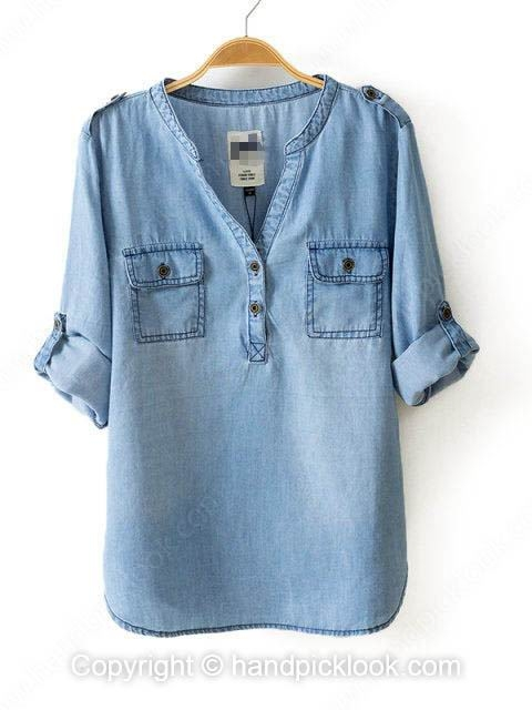 Light Blue V-neck Long Sleeve Pockets Denim Blouse - HandpickLook.com