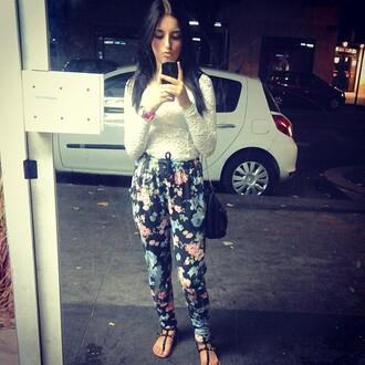 harem harem pants h&m fleuri sarouel