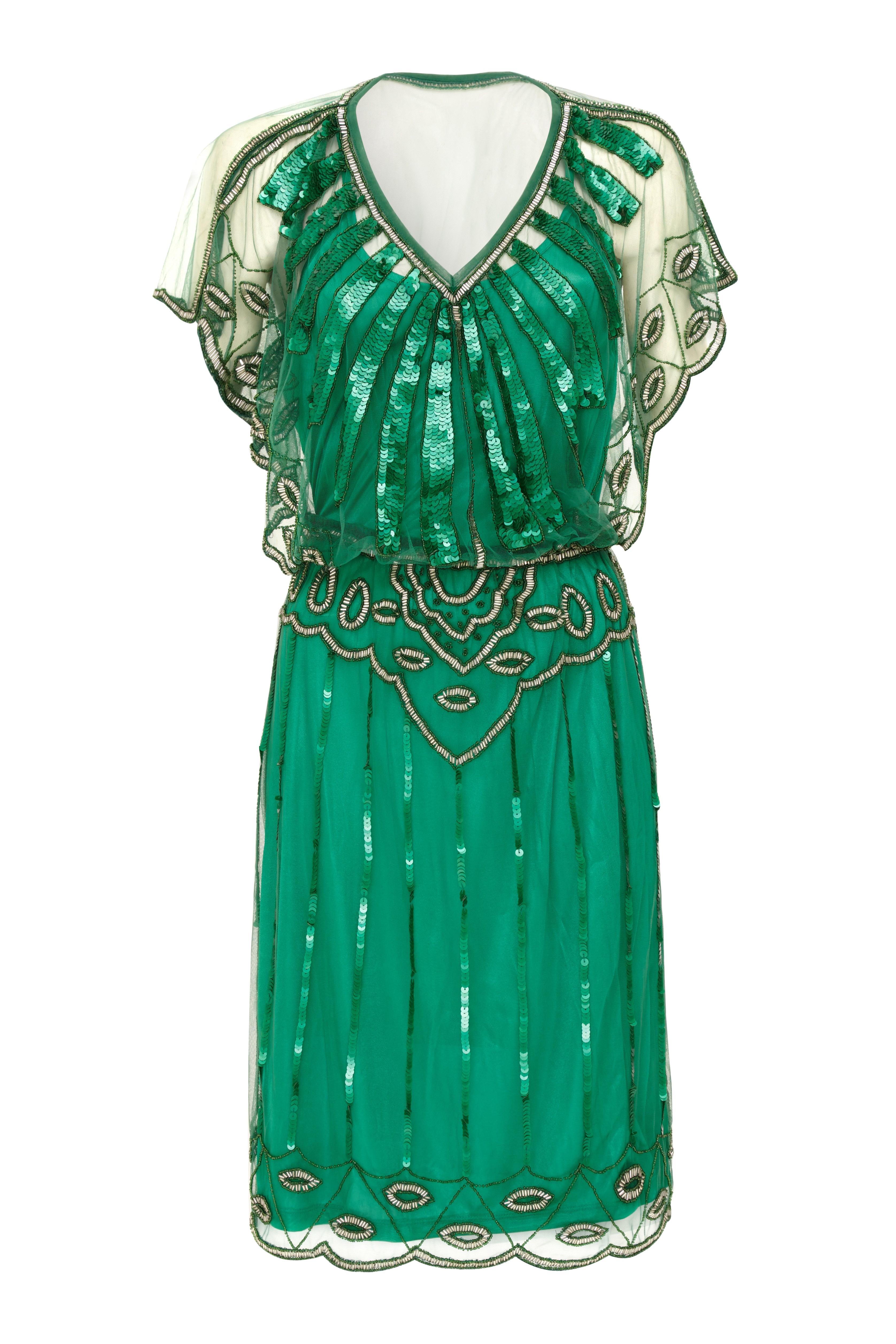 Angel Sleeve 1920\'s Vintage Inspired Flapper Dress in Emerald Green