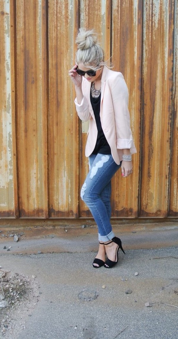 jeans ripped jeans pink blazer black shoes jacket shoes jewels