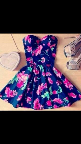 dress floral dress heels heart bag something navy floral bag boobtube summer dress flowers strapless