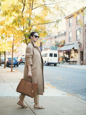 coat tumblr long coat camel long coat camel camel coat pants nude pants bag shoes loafers sunglasses office outfits