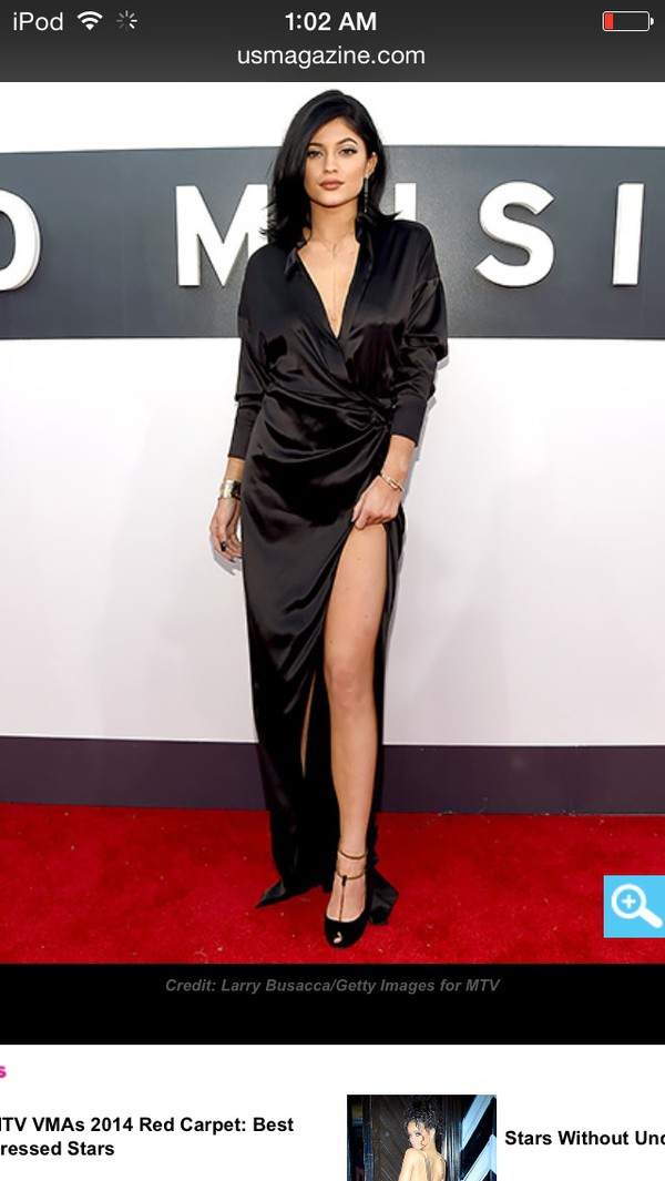 black dress kylie jenner prom dress dress slit maxi dress half-sleeved one piece black vma shoes dolcepromdress.com kylie jenner dress satin dress long dress blouse silk top celebrity style low cut dress side slit long sleeve dress long black dress vma