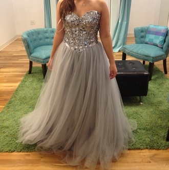 dress sweet 16 silver long tulle skirt