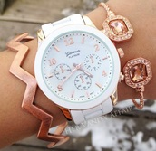 jewels,geneva,watch,white,rose gold,jewelry,bracelets,stacked bracelets