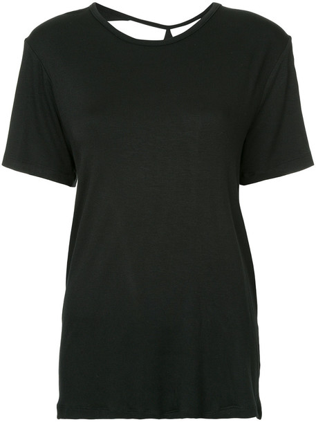 t-shirt shirt t-shirt back women spandex black top