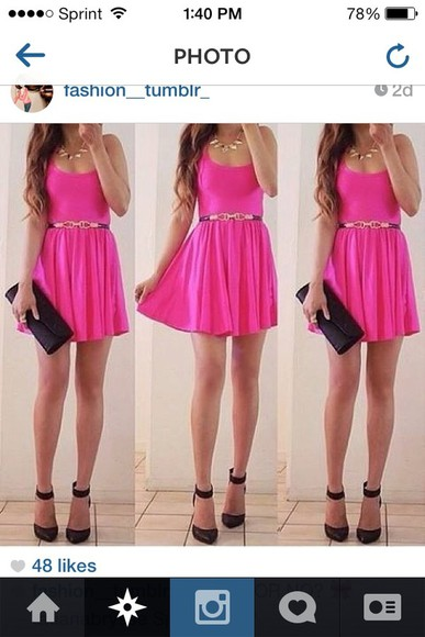 shoes black heels high heels dress pink dress belt