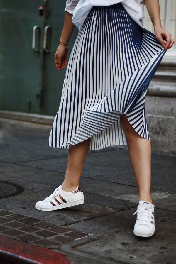 skirt midi skirt stripes striped skirt pleated