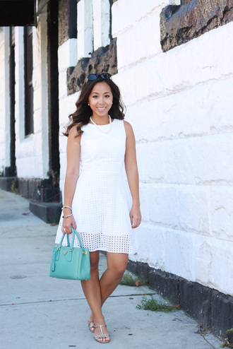i am khatu blogger bag sunglasses eyelet dress white dress mini dress blue bag mint pearl eyelet detail