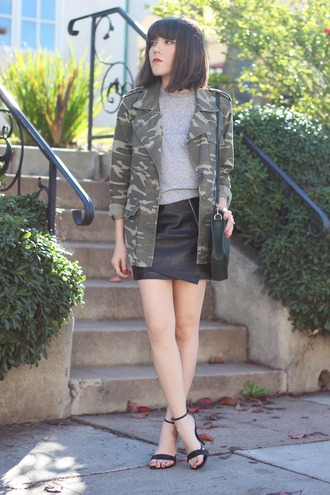 platforms for breakfast blogger camo jacket leather skirt sandals jacket top skirt shoes bag vintage camouflage jacket camouflage military jacket sweater grey sweater army green jacket camouflage black bag asymmetrical asymmetrical skirt mini skirt black leather skirt sandal heels high heel sandals