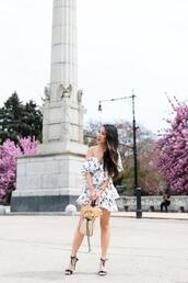 dress,shoes,bag,jewels,wendy's,lookbook,blogger,off the shoulder,sandals,spring outfits,summer outfits