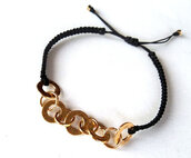 jewels,macrame bracelet,bracelets,black,goldplated,bracelet chains