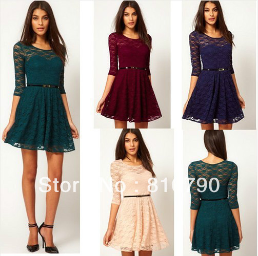 Womens Spoon Neck 3/4 Sleeve Lace Skater Dress with Belt Slim Fit Party Dress Mini Clubwear 1pcs/lot Free Shipping-in Apparel & Accessories on Aliexpress.com