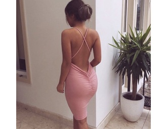 dress pink pink dress open back open back dresses hot girly formal dress criss cross criss cross back boho edgy sneakers