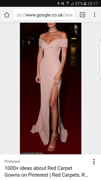 dress bella hadid off the shoulder off the shoulder dress slit dress evening dress long evening dress prom dress long prom dress long dress maxi dress party dress classy dress elegant dress cocktail dress celebrity style celebrity celebstyle for less new year's eve wedding clothes wedding guest red carpet dress