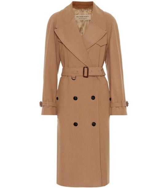 Burberry Herringbone wool-blend trench coat in brown