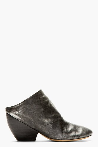 clogs shoes leather women black metallic slouchy boots