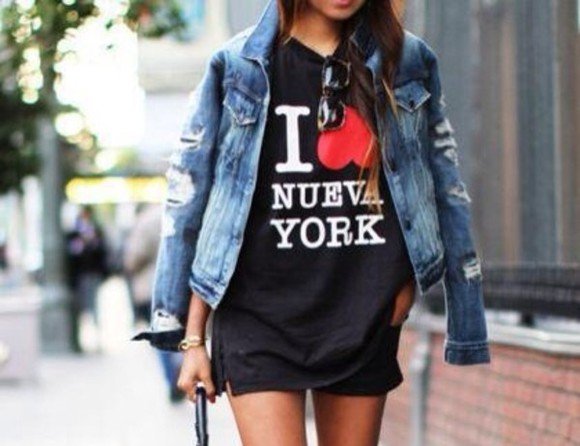 shirt black new york heart