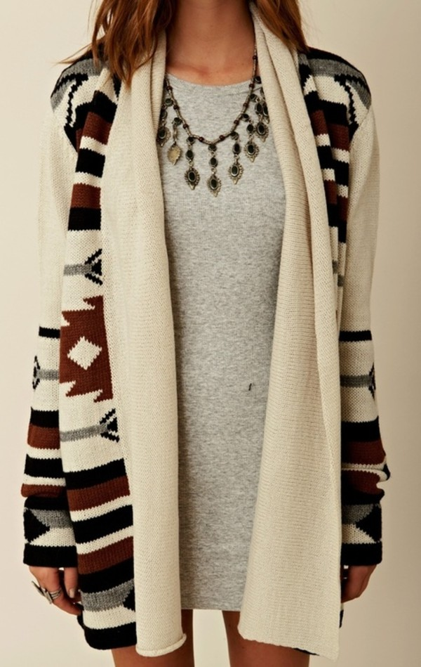 jacket cardigan aztec jewels dress sweater tribal pattern sweat white grey dress oversized sweater