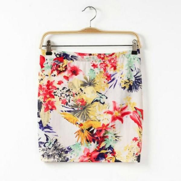 floral skirt mini skirt birds skirt