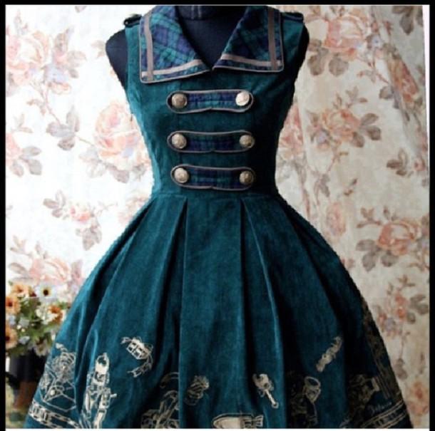 dress steampunk blue dress green dress steampunk