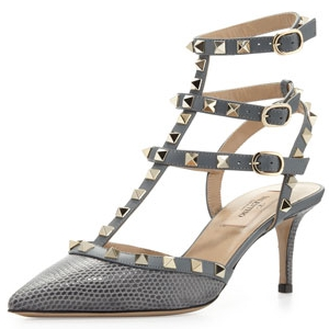 Valentino Light Grey Rockstud Lizard Cage Sandal - Sale