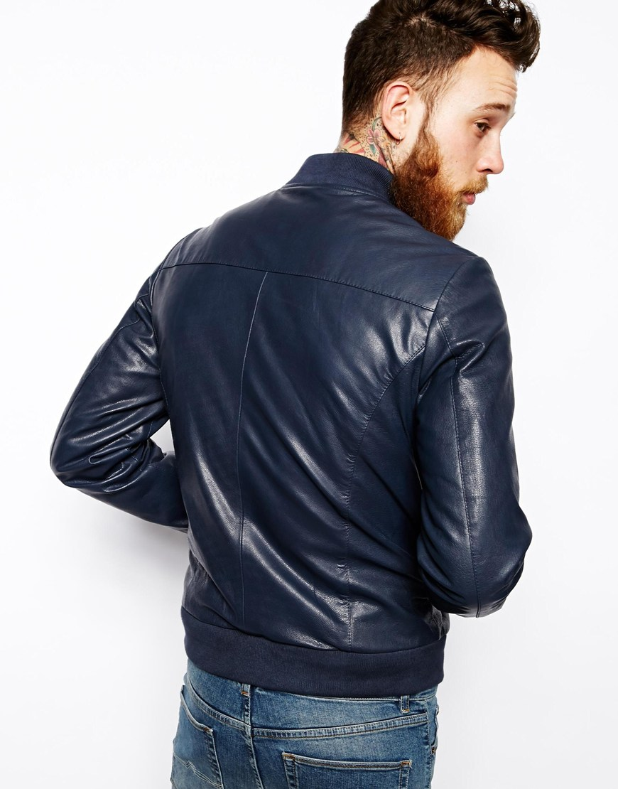 ASOS Leather Bomber Jacket at asos.com